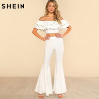 SHEIN White Off The Shoulder Sexy Top And Pants Set Elegant Women Party Two Piece Beading