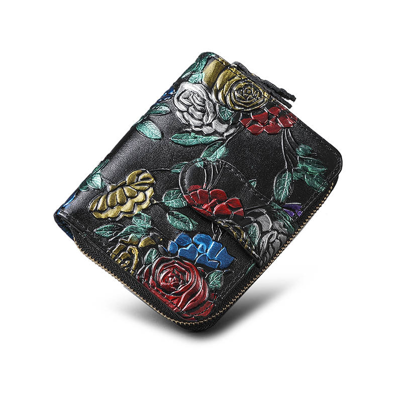 Genuine Leather Women Wallet Flower Female Mini Clutch Coin Purse Card Holder Bifold Short Animal Printing