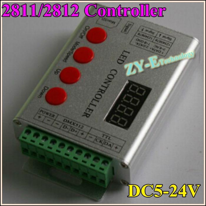 4key controller2811/2812 LED de contrôle polychrome avec contrôleur synchrone de SPI-DMX512 programmable SD DC5v-24v livraison gratuite