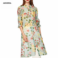 2017 Women Wholesale Autumn Chiffon Print Long Blouse O Neck Ruffles Shirt Blusa