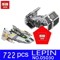 LEPIN 05030 722Pcs Stars Wars Vader S TIE Advanced VS A Wing Starfighter Model Building Blocks