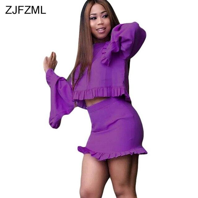 a538949d38f ZJFZML Plus Size Sexy Two Piece Set Dress Women Flare Sleeve Crop Top And  Ruffle Bodycon Mini Skirts Purple Army Green 2 Pcs Set