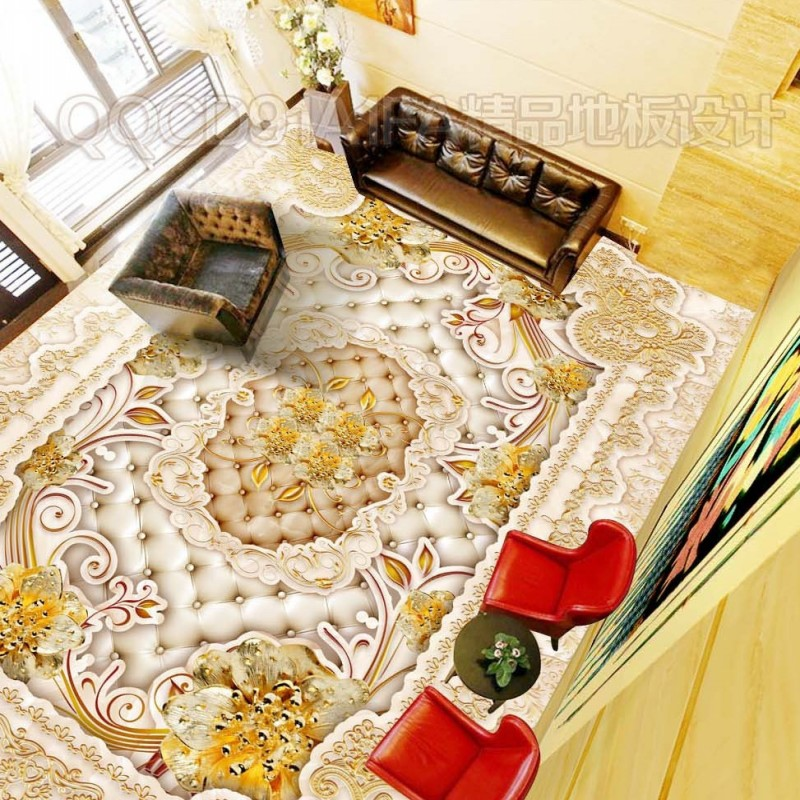 Free shipping HD classical marble gold pattern wallpaper non-slip thicken floor custom living room mural 3d printing claybank marble pattern non slip floor carpet