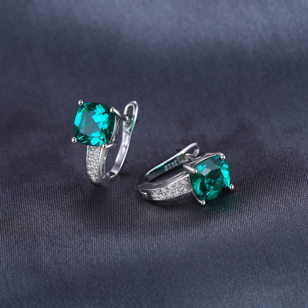 JewelryPalace Cushion 3.1ct Created Green Emerald Clip On Earrings 925 Sterling Silver Fine Jewelry for Women Accessories 1