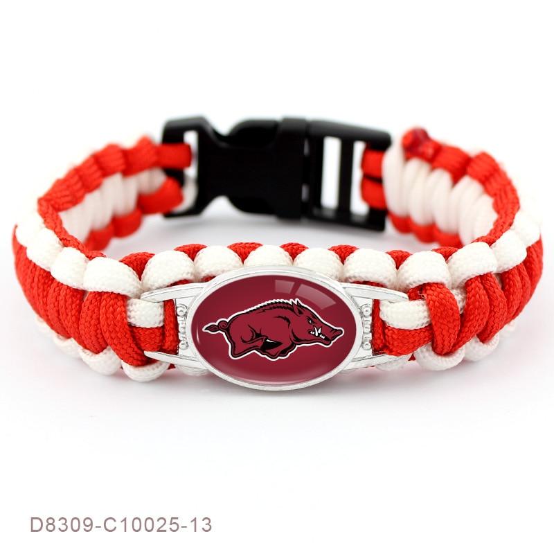 2 Style Collegiate Sport Team Arkansas Razorbacks Bracelet Sport Team Umbrella Braided Bracelet For Men Women Jewelry 10 PCS