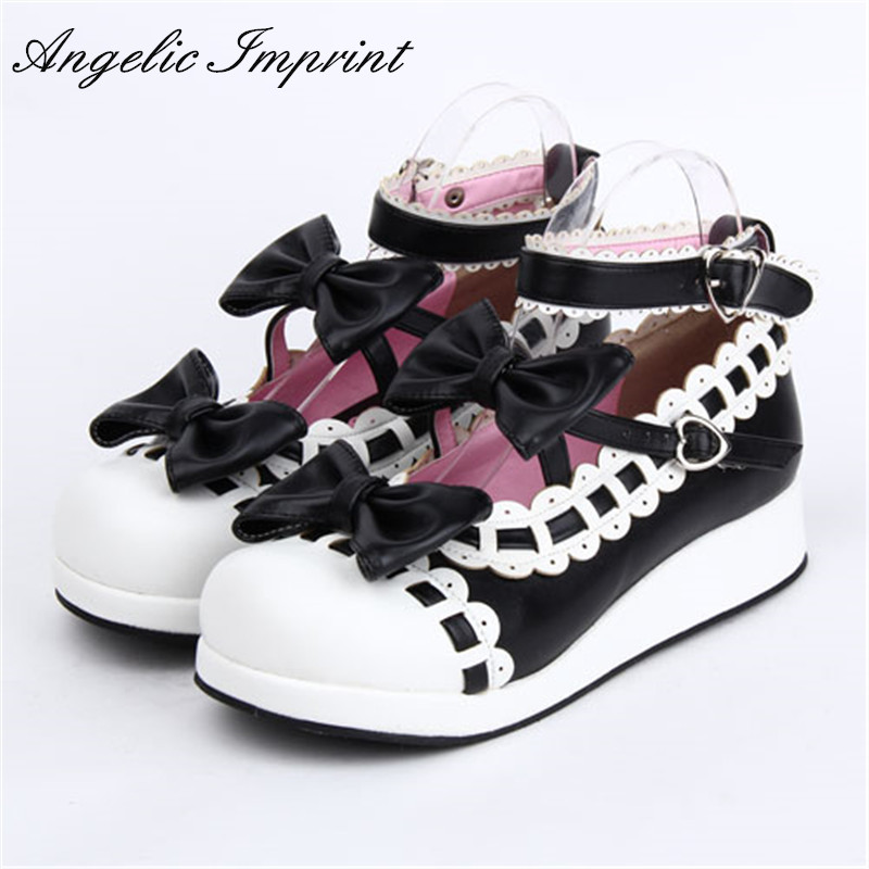 Classic Black & White Sweet Lolita Mary Jane Pumps Wedge Princess Girls Tea Party Shoes sky blue red leather princess girl sweet lolita wedge mary jane shoes