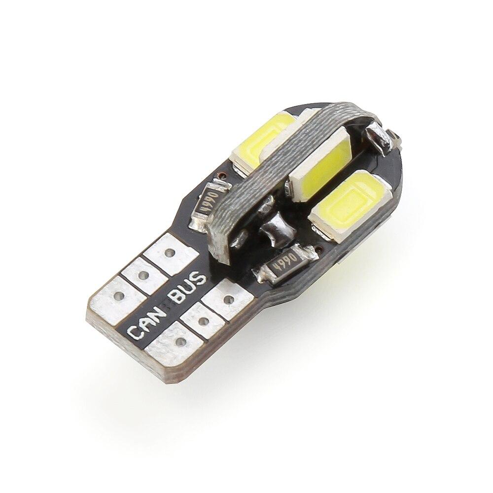 10PCS T10 Led Car Interior Bulb Canbus Error Free T10 White 5730 8SMD LED 12V Car Side Wedge Light White Lamp Bulb Car Styling
