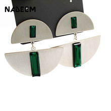 Double Part Antique Silver Color Alloy Half Round Metal Green Glass Stone Stud Earrings for Women Fashion Jewelry