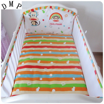 Promotion! 5PCS Infant Newborn Crib Bedding set Cartoon Kids Crib Bed Sheets 100% Cotton Baby Bedclothes ,include:(bumper+sheet) cotton bedding in the crib 5pcs set baby bedding set baby bed bumper sheets baby girl crib bedding set biancheria da letto