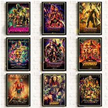 2019 New Marvel Movie Avengers Endgame Poster Kraft Paper Super Hero Retro and Prints Cafe Room Wall Sticker Art Painting