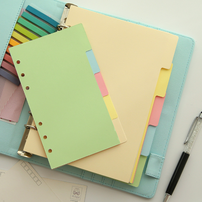 Candy Color Colorful Sweet DIVIDER Separate Page Simple But Good Match For 6 Holes Loose Leaf Notebook Agenda Planner Filofax