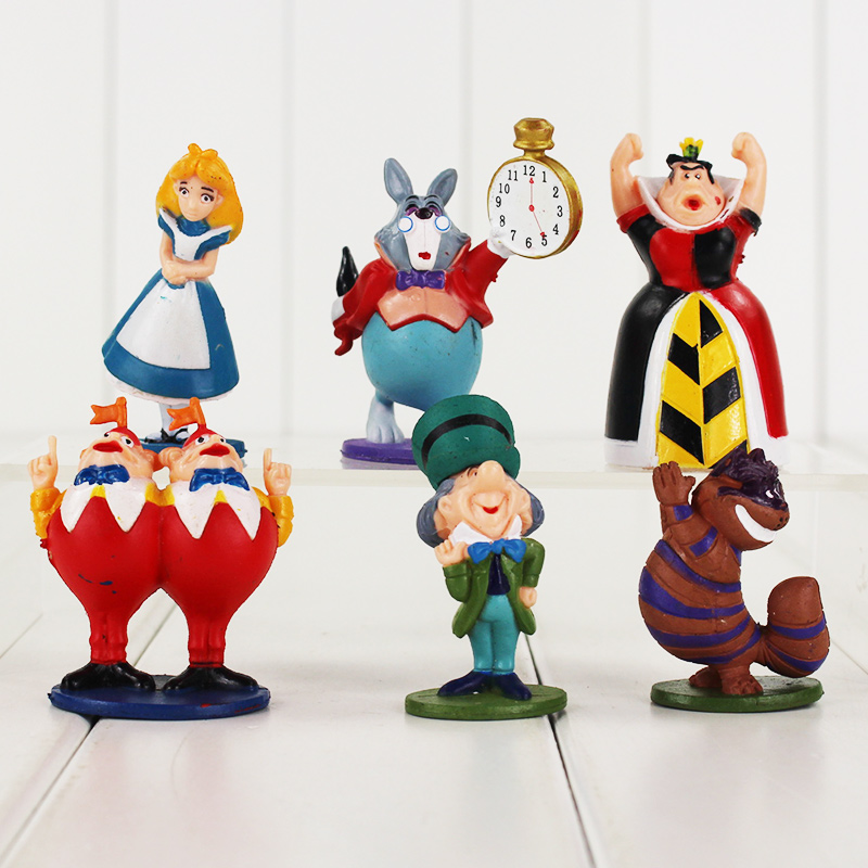 6pcs lot Alice In Wonderland Figure Alice Queen of Heart White Rabbit Cheshire Cat Mad Hatter
