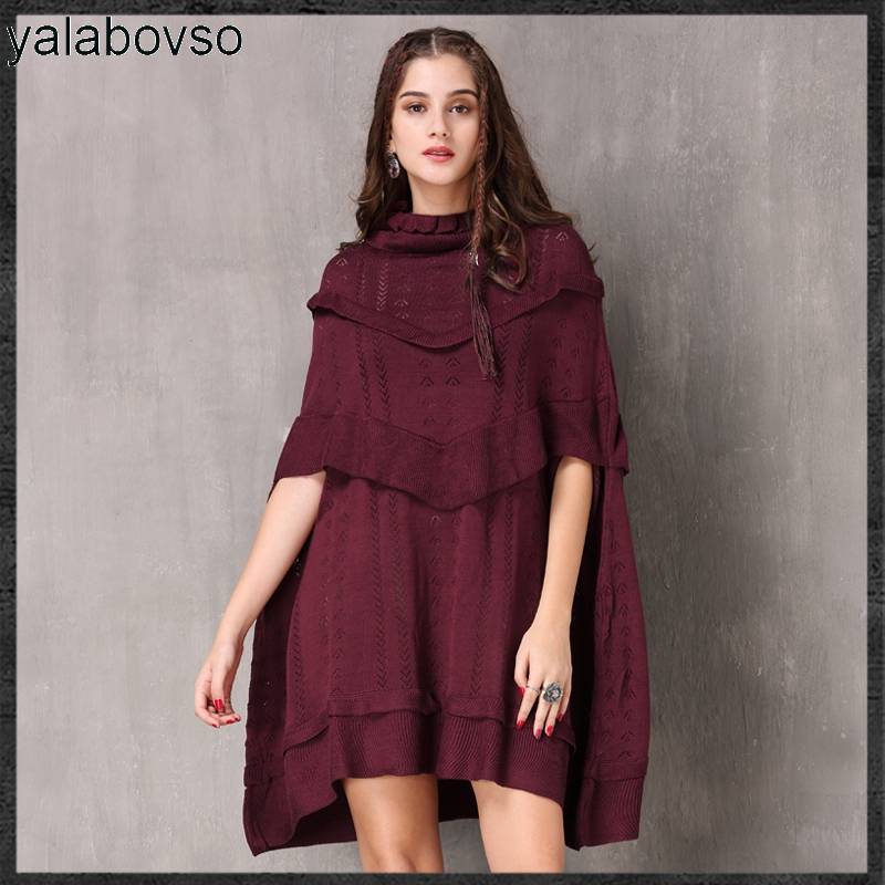 2018 Winter Cloak Sleeves Vintage Retro Dress Loose Waist Solid Wine Color Ruffles DRESSES for woman A50 A82069 z20
