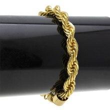 Twisted rope chain high quality hip hop twist bracelet 22cm Chain Bracelets For Women Men Jewelry CZ Dropshipping