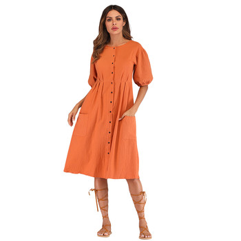 ae86868d470 MUQGEW модные женские туфли однотонные летние платье Повседневное короткий  рукав с круглым вырезом низ свободный пляжный