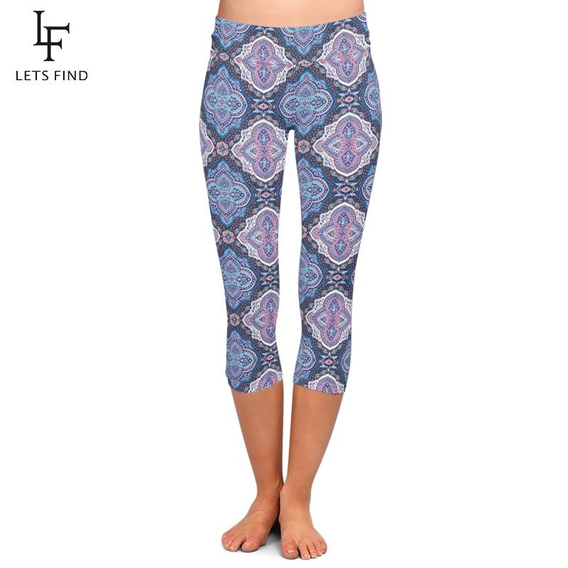 Hot Sales Leggings Digital Print High Waist High Elasticity Women Pants Plus Size Mid-Calf 3/4 Stretch Capri Leggings