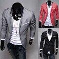Мужчины Blazer Новое Прибытие Две Кнопки Блейзер masculino Повседневная Slim Fit Куртка Мужская 3 Цвета Костюмы Куртки