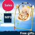 Frame dourado do bebê elétrica cadeira de balanço balanço criança cama berço automático cartazes bebê MP3 pendurado cadeira de bebé