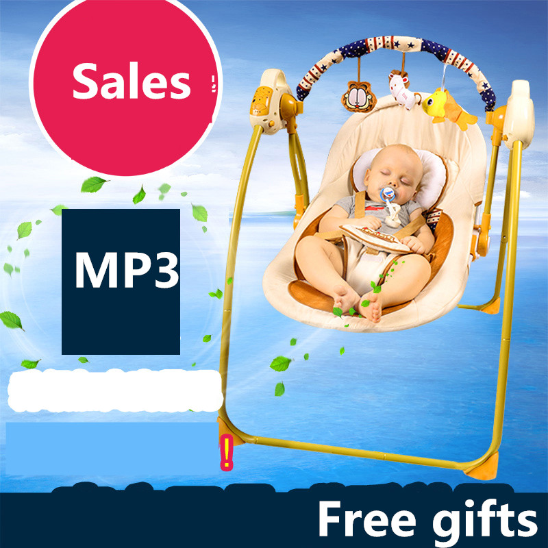 Golden frame electric baby rocking chair child swing automatic cradle bed placards baby MP3 hanging chair baby 2017 new babyruler portable baby cradle newborn light music rocking chair kid game swing