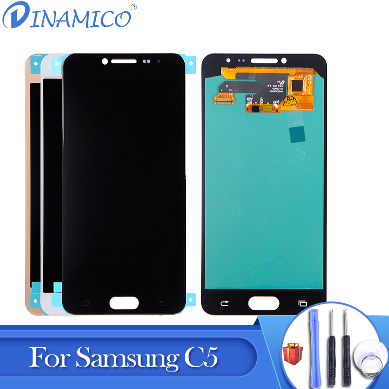 22e6e495c47544 Dinamico 1Pcs For Samsung Galaxy C5 Lcd With Touch Panel Glass Screen  Digitizer Assembly Replacement C5000 Display Free Shipping