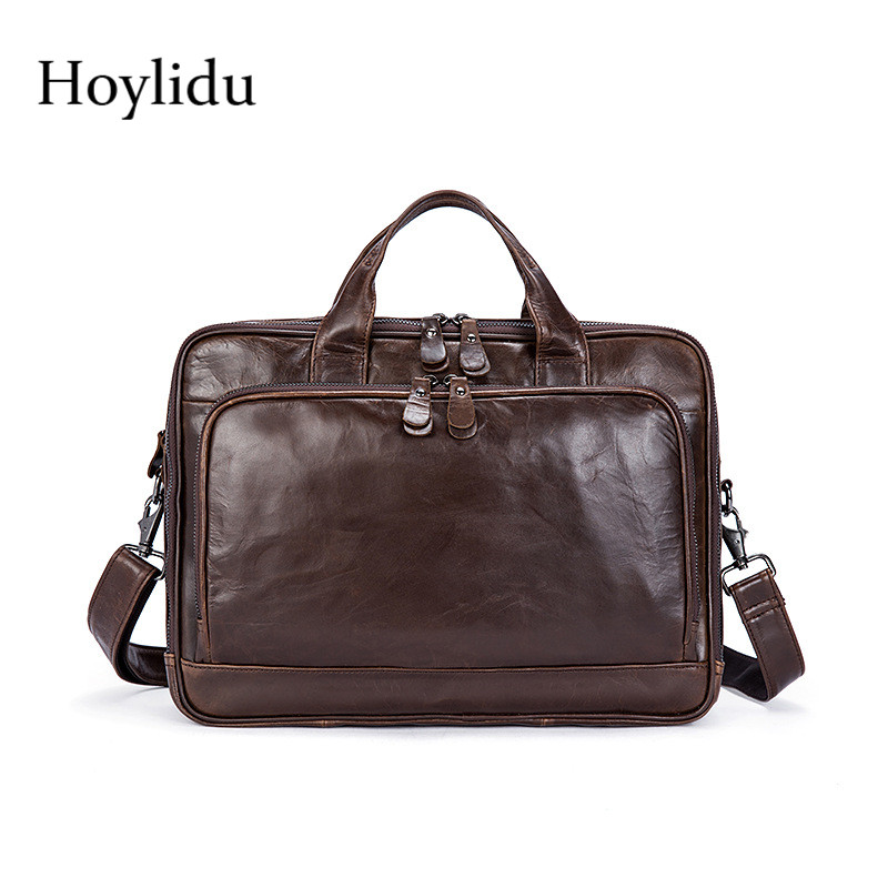 Genuine Leather Mens Business Briefcase Office Multifunction Handbags Large Capacity Travel Shoulder Bags For Male Messenger Bag snny pro multifunction mens military travel nylon shoulder messenger bag handbags briefcase