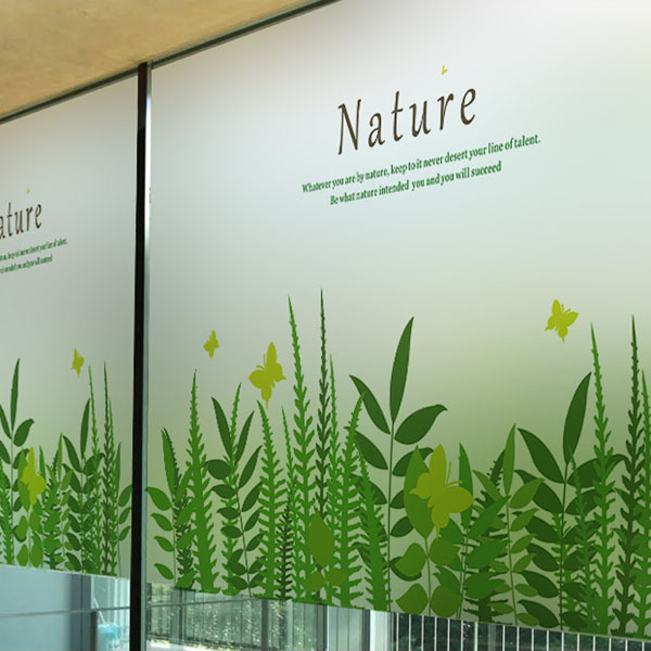 green grass wall stickers transparent glass film window sticker