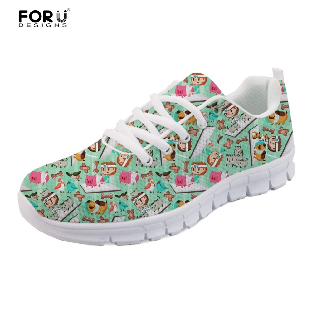 FORUDESIGNS Cartoon Ladies Flats Shoes Fashion BUSY VET Nurse Pattern Walking Casual Women Sneaker Chaussures Femme Shoes Woman forudesigns women casual sneaker cartoon cute nurse printed flats fashion women s summer comfortable breathable girls flat shoes