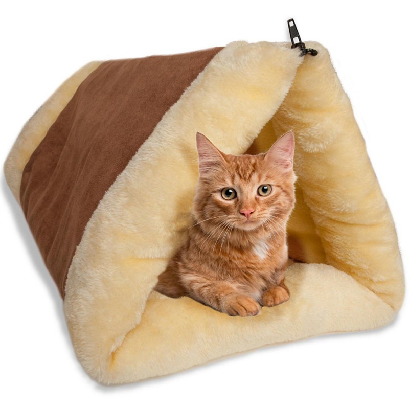 Warm Kennel Crate Cage Shack House Cat Pet Bed Blanket Tunnel Fleece Tube Indoor Cushion Mat Pyramid Pad Puppy Dog Kitty 2018