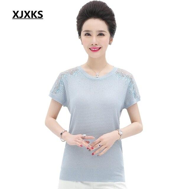 ce5b8e4aec XJXKS 2019 Vintage Summer New Modis Comfortable Hollow Plus Size Women  T-shirt Knitted Thin Breathable T-shirt Women Tops