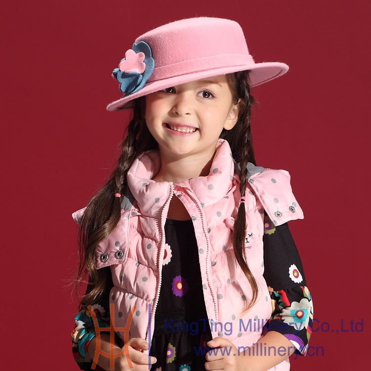Hot Selling Girl s Winter Wool Hats New Designs Lovely Pink Flower Girl Wedding party Hair