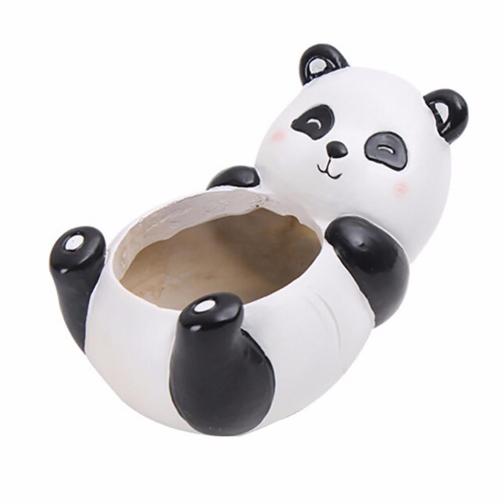 Суккулентов горшок панда Животные смолы горшки кашпо стол цветочный горшок украшения дома macetas цветок плато горшок