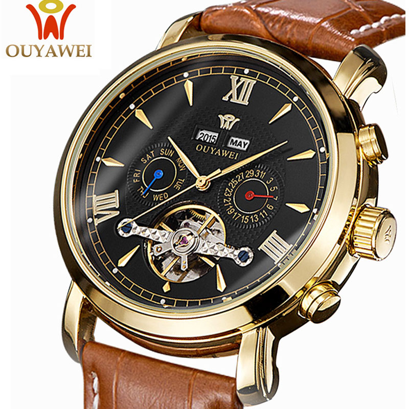 OUYAWEI Top Brand Luxury Mens Watches Belt Business Mechanical Automatic Watch Men Clock Wrist Watch For Men Relogio Masculino mce top brand mens watches automatic men watch luxury stainless steel wristwatches male clock montre with box 335