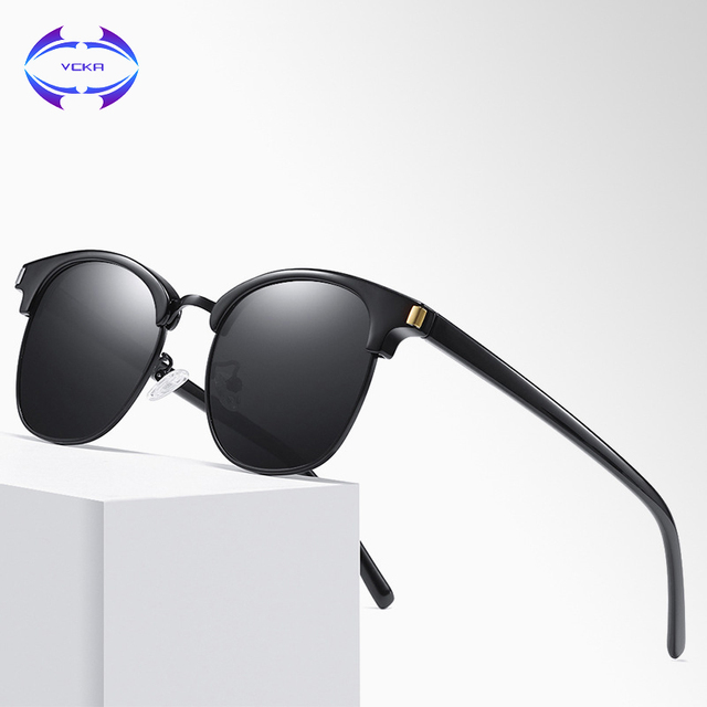 d7f4156ff71a VCKA Brand Retro Sunglasses Men Polarized Square Metal Frame Blue Lens Women  Sun Glasses Male Driving Eyewear Gafas Oculos