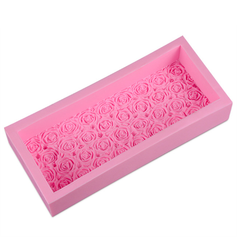 1000ML Big Embossed Loaf Pan Silicone Soap Mold Rose Flower Decoration Handmade Toast Soap Making Mould H377