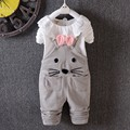2017 New Spring baby girls clothing sets fashion cotton long sleeve T-shirt +pant 2pcs overalls sets