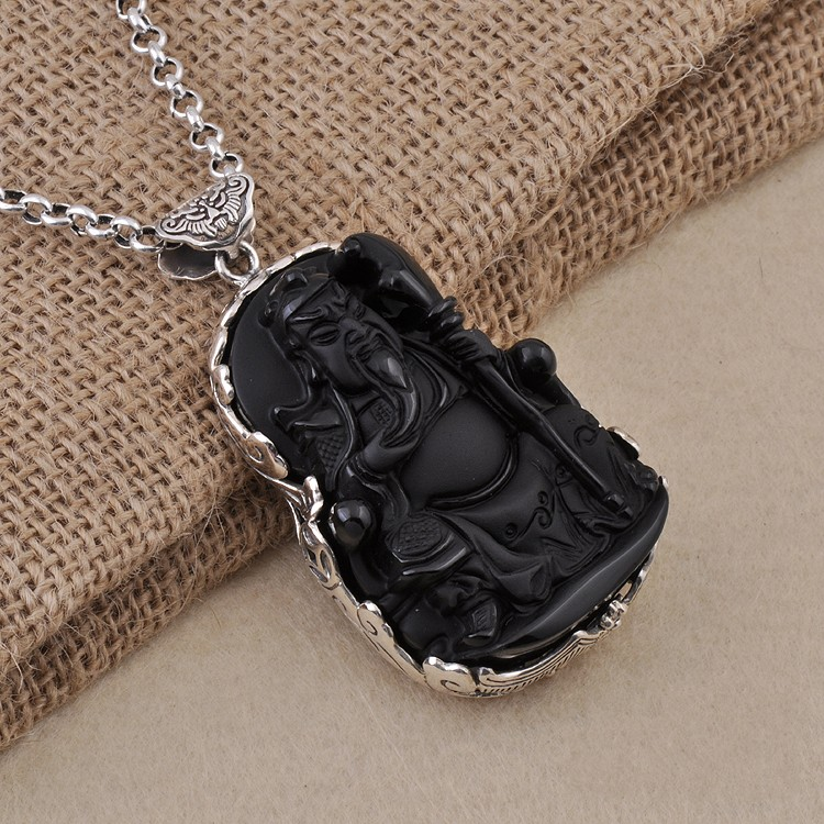 S925 Sterling Silver Pendant silversmith Guan Guan Erye Obsidian scrub safe недорго, оригинальная цена