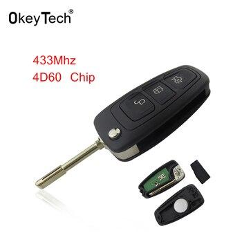 Mando a distancia OkeyTech 4D60 para Ford Focus Mk1 Mondeo Transit conectar sin cortar hoja FO21 3 botones 433Mhz