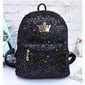 Fashion Design Women's Black Backpack Sequins Backpacks for Teenage Girls