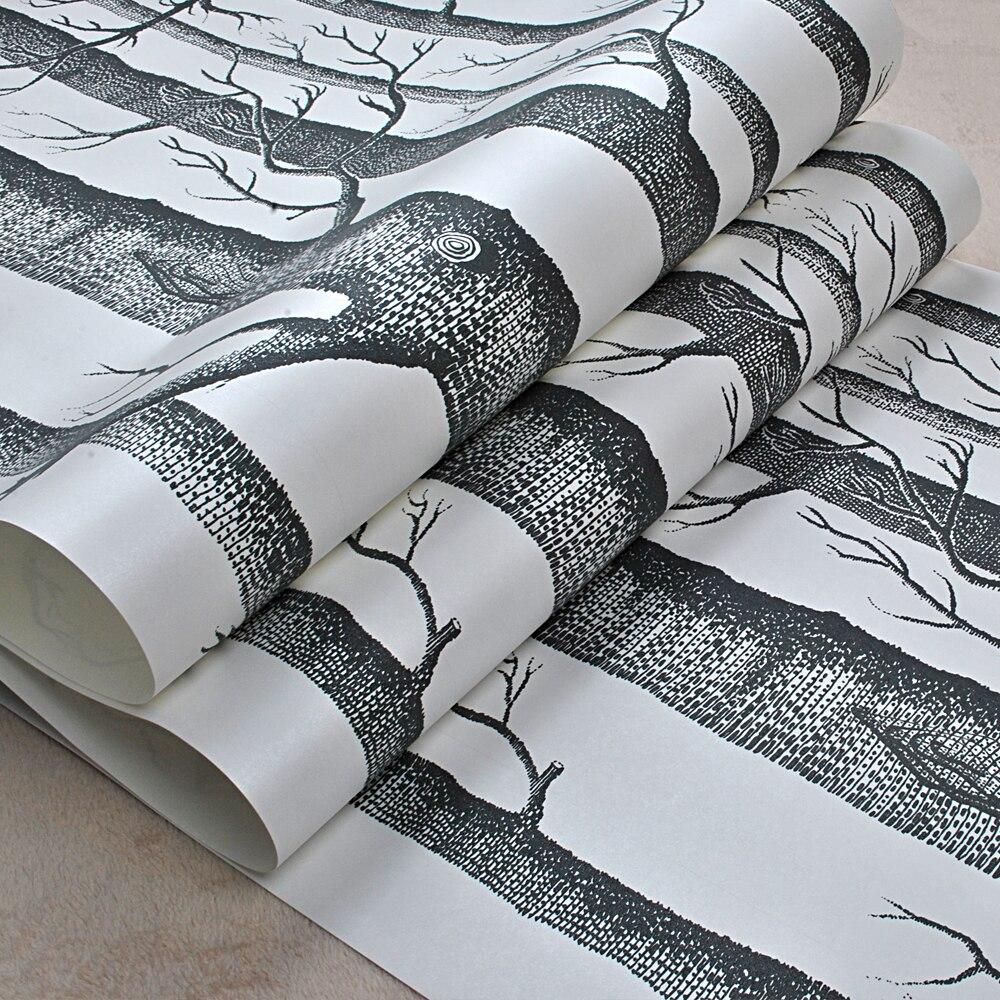 Black White Birch Tree Wallpaper for Bedroom Modern Design ...