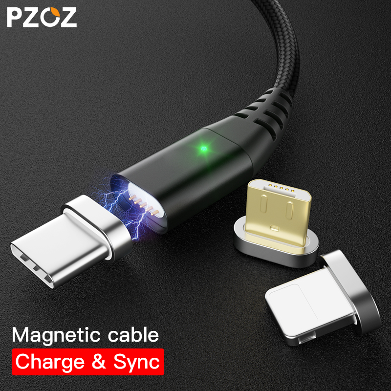 PZOZ Magnetic Cable Type C Micro USB C Adapter For iphone 8 Samsung Microusb Type-C Charger Phone usb Magnet Cable Fast Charging