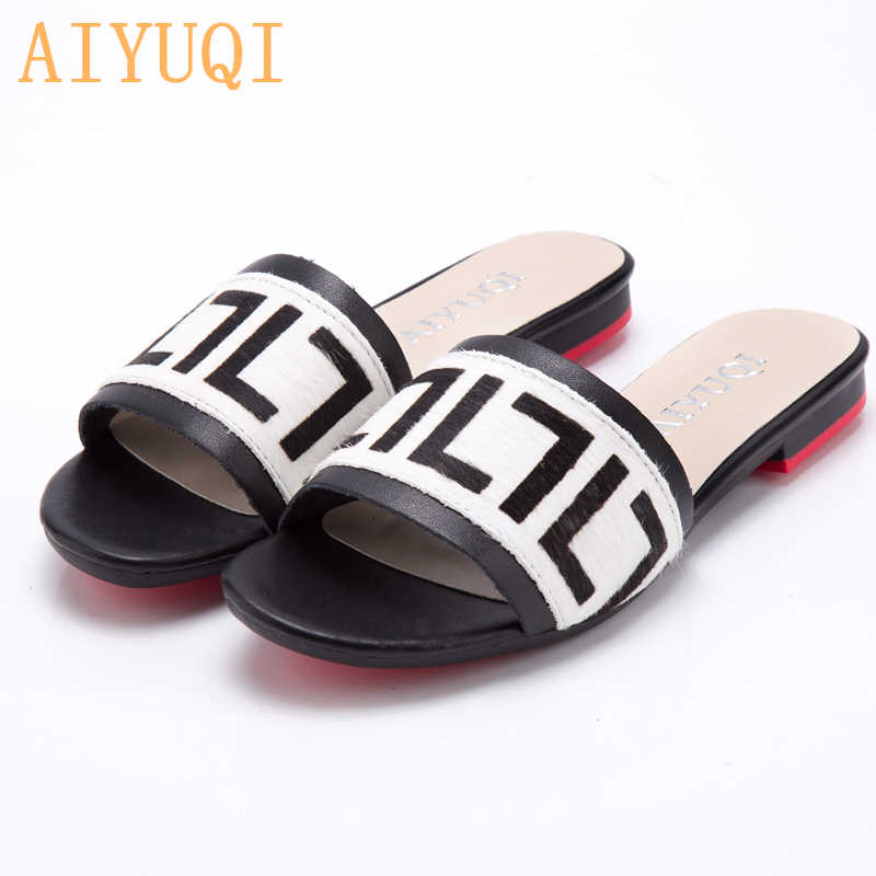 4c0e2b7f520 AIYUQI Women's Slippers 2019 New summer Genuine Leather Flat Women's slides  Mohair Casual Outdoor Slippers Women shoes