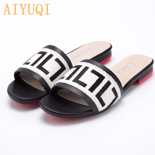 Купить с кэшбэком AIYUQI Women Slippers 2020 New summer Genuine Leather Flat Women slides  Mohair Casual Outdoor Slippers Women shoes