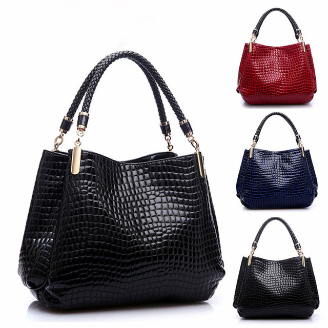 2017 Hot Alligator Women's leather Zipper Handbag Fashion Sequined Shoulder Bags Luxury Brand Designer Ladies Tote Bags Female