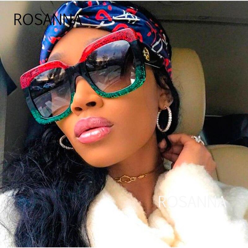 ROSANNA New Square Sunglasses 2019 Oversized Shades Luxury Brand Design Women's Sunglasses Red Green Sun Glasses Female R111