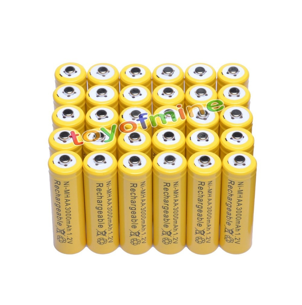 4/8/16/24/30/50pcs AA NI-MH 3000mAh 1.2V Yel battery batteries Bulk Nickel Hydride Rechargeable Yellow cells for toys brand new sofirn 1 2v 7000 mah d nimh hr20 700dhc large nickel metal hydride rechargeable battery free drop shipping