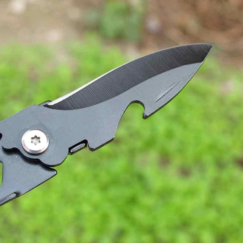 Mini faca portátil dobrável, faca de aço inoxidável multi dobrável, edc, abridor de garrafas, cozinha, acampamento, casa