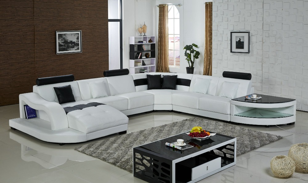 Chaise Bean Bag Chair Sofas For Living Room Muebles With Led Light Big Size U Shape Modern Design Leather Corner Sofa