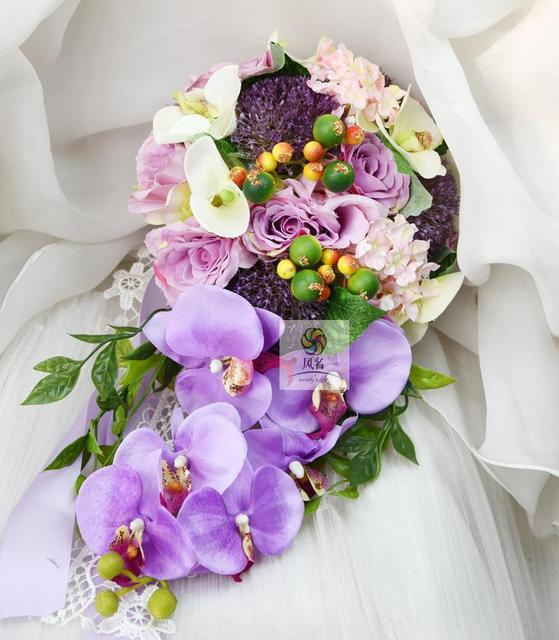 2018 Waterfall Style Handmade Wedding Bridal Bouquet Purple ...