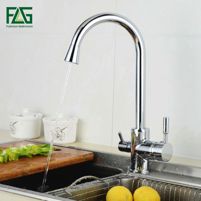 все цены на FLG 3 Way Tap Kitchen faucets Water Drinking Water Faucet Chrome Kitchen Taps Mixer Water Filter Rotatable Purify Mixer 255-33C