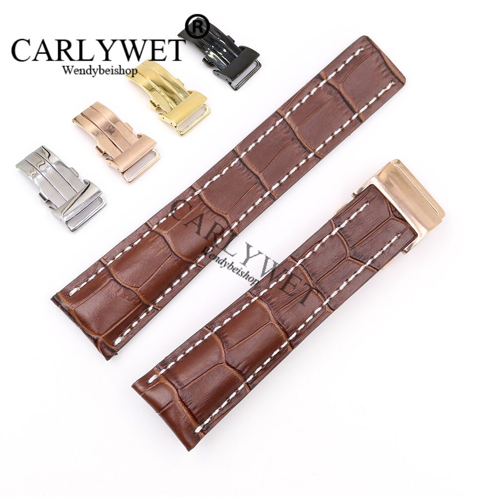 CARLYWET 22 24mm Brown Men Women Wholesale Replacement Real Cowhide Leather Wrist Watch Band Strap For Breitling Super Ocean GMT